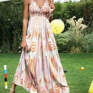 Jessica Simpson Boho/ Ikat Halter Maxi Dress